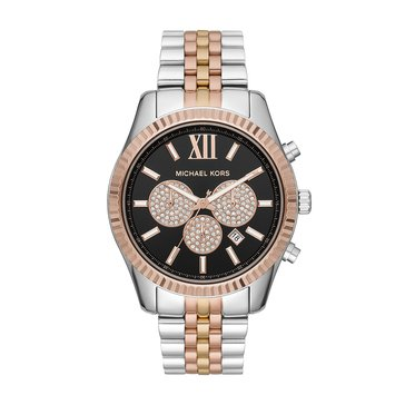 Michael Kors Men's Lexington Chronograph Tri-Tone Stainless Steel Watch, 44mm