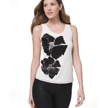 White House Black Market Women's Floral Applique Tank