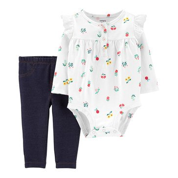 Carter's Baby Girls' 2-Piece Eyelet Bodysuit & Pant Set