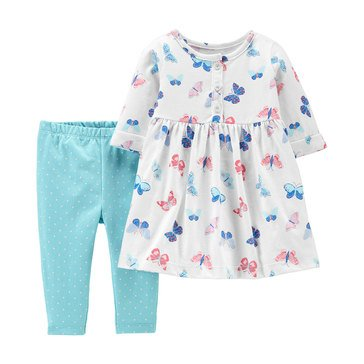 Carter's Baby Girls' Butterflies Dress & Legging Set