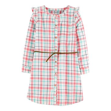 Carter's Little Gilr's Long Sleeve Plaid Pocket Dress