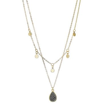 Panacea Shaker and Drusy Teardrop Pendant Double Layered Necklace