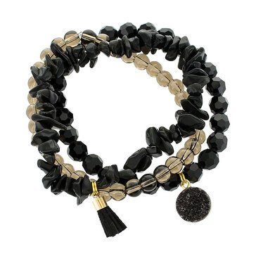 Panacea Black And Taupe Beaded Stretch Bracelet Set