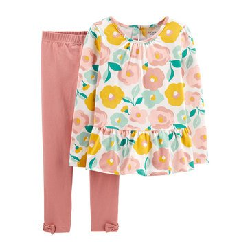 Carters Little Girl's 2 Piece Knit Floral Top Solid Pant Set
