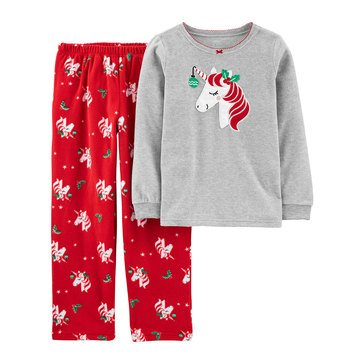 Carters Little Girl 2 Piece Long Sleeve Holly Unicorn Sleep Set