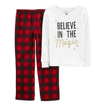 Carter's Little Girls' 2-Piece Christmas Magic Snug Fit Cotton & Fleece PJs