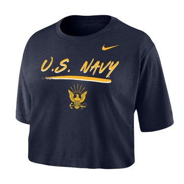 Nike Womens US Navy With Eagle Cotton Crop Dri Fit Tee