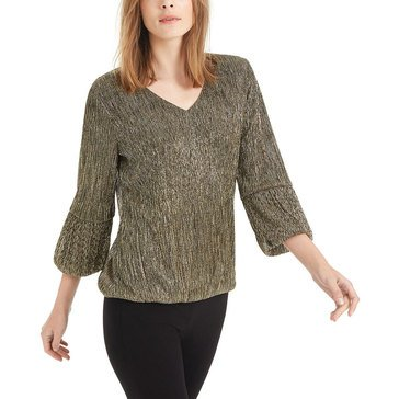 Alfani Women's Knit Gold Metallic V-Neck Bubble Hem Top