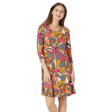 Yarn & Sea Women's 3/4 Sleeve Breakwater Pucci Flower Swing Dress