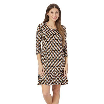 Yarn & Sea Women's 3/4 Sleeve Breakwater Geo Swing Dress