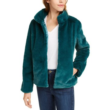 Maison Jules Women's Faux Rabbit Hair Chubby Jacket
