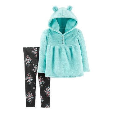 Carters Toddler Girl's 2-Piece Ear Hoodie Floral Pant Set