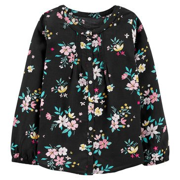 Carters Little Girls' Button Up Floral Pleated Blouse