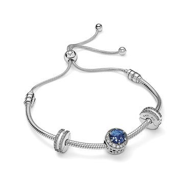 Pandora Moon and Night Sky Bolo Bracelet, Spacers and Charm Gift Set