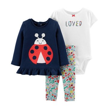 Carters Baby Girls' 3 Piece Ladybug Top Bodysuit Pant Set