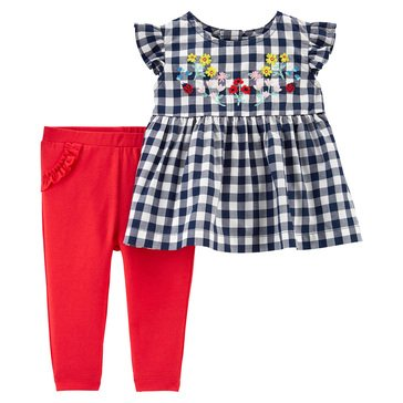 Carters Baby Girls' 2 Piece Floral Checker Top and Pant Set