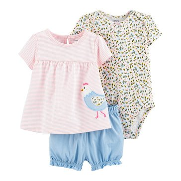 Carters Baby Girls' 3 Piece Chicken Bubble Short Set