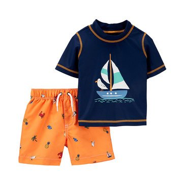 Carters Baby Boys' 2 Piece Sail Boat Swimsuit