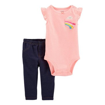 Carters Baby Girls' Rainbow Bodysuit and Pant Set