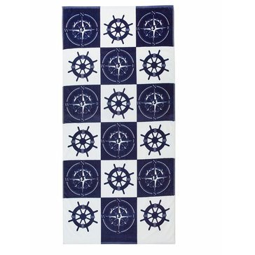 Harbor Home Print Compass Wheel Beach Towel
