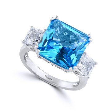 Effy 14K WH Blue & White Topaz 10 cttw Ring