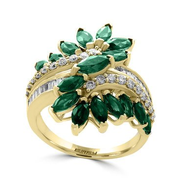 Effy 14K cttw Emerald & Diamond Ring