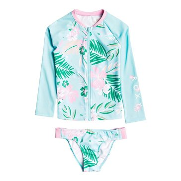 Roxy Girls' 2-Piece Zip Up Tropical Printed Lycra Set