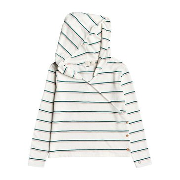 Roxy Big Girls' Long Sleeve Button Up Yellow Summer Striped Hoodie