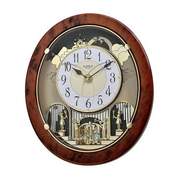 Rhythm USA Clock Woodgrain Stars Wall Clock