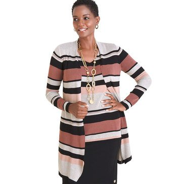 Chico's Women's Multi Striped Long Cardigan