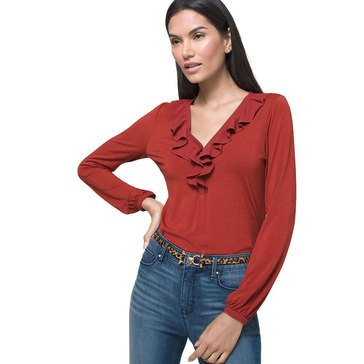White House Black Market Women's Ruffle Top