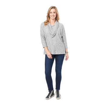 Democracy Women's Whipstitch Cowl Neck Knit Top