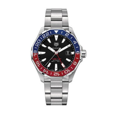 Tag Heuer Men's Aquaracer Black Dial Blue/ Red Bezel Automatic GMT Steet Watch, 43mm