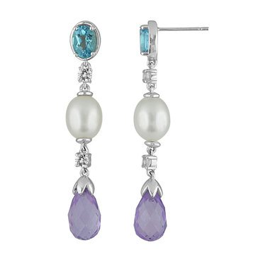 Sterling Silver Blue Topaz, Pearl and White Topaz Drop Earrings