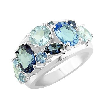 Sterling Silver Swiss and Sky Blue Topaz Ring
