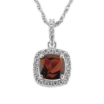 Sterling Silver Created Garnet and Diamond Pendant