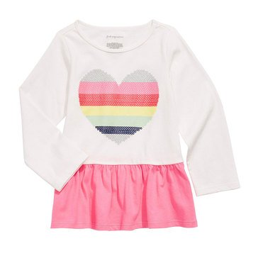 First Impressions Baby Girls' Rainbow Heart Peplum Top