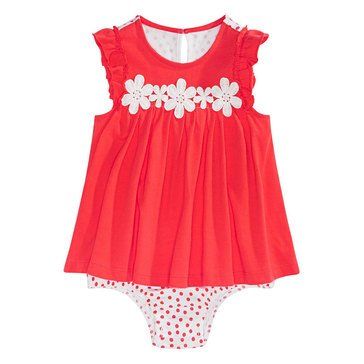 First Impressions Baby Girls' Crochet Flower Sunsuit