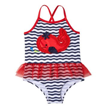 Wippette Baby Girls' Sea Life 1-Piece Whale Swim Suit