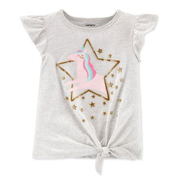 Carter's Toddler Girls' Ruffled Sleeve Front Knot Unicorn Tee