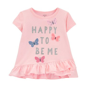 Carter's Toddler Girls' Ruffled Front Happy Me Tee
