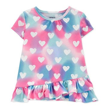 Carter's Toddler Girls' Ruffled Front Heart Tee