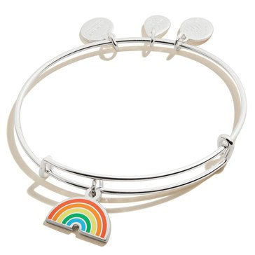 Alex and Ani Color Infusion Rainbow Bangle, Silver Finish