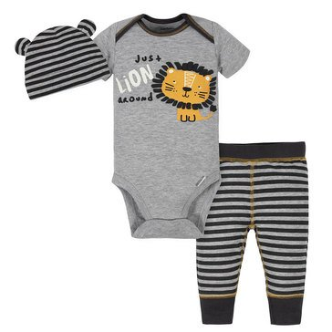 Gerber Little Girls' Baby Girls' Bodysuit, Cap and Slim Pant 3-Piece Set