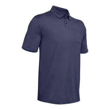 Under Armour Mens CC Scramble Polo Blue Ink