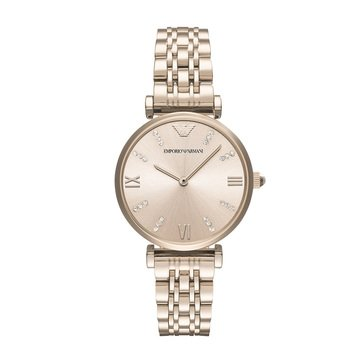 Emporio Armani Pink Gold-Tone Stainless Steel Dress Watch, 32mm