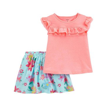 Carters Toddler Girls' 2-Piece Solid Top Printed Skirt Set