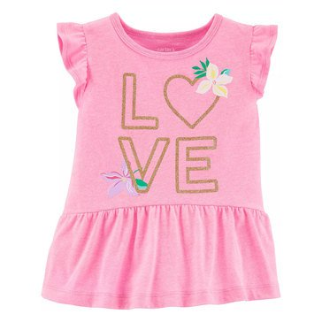 Carters Toddler Ruff Slv Love Peplum Tee