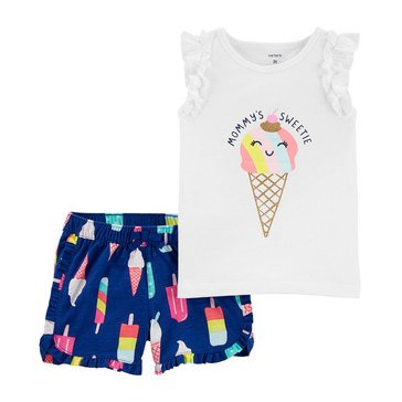 Carters Toddler 2 pc SL Ice Cream Print Short Set