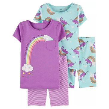 Carters Little 4pc SS Norwal Bike Short Sleep Set